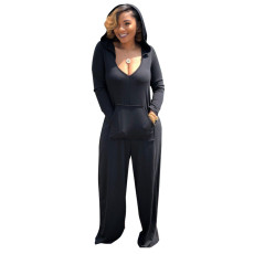 Solid Casual Loose Hooded Long Sleeve Jumpsuits CYA-8737