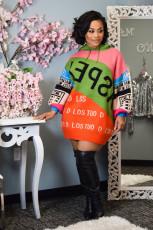 Fashion Splice Letter Print Pullover Sweatshirts Dress KYF-3030