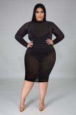 Plus Size 5XL Sexy Nightclub Hot Rhinestone Long Sleeve See Through Slim Dress NY-2042