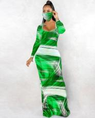 Sexy Print Long Sleeve Maxi Dress (Without Mask) KYF-3002