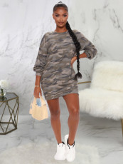 Casual Camouflage Print Pullover Sweatshirt Dress KYF-3026