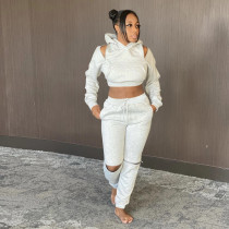 Solid Hoodies Thicken Two Piece Pants Set TE-4128