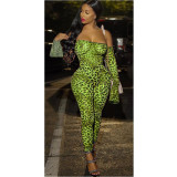 Off Shoulder Long Sleeve Print Leopard Sexy Jumpsuits YF-9501