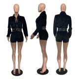 Trendy Velvet Leather Patchwork Coat And Shorts Set MOF-5188