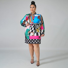 Plus Size 4XL Fashion Print Scarves Long Sleeve Mini Dress ONY-5061