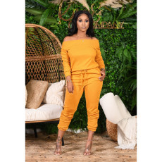 Solid Slash Neck Long Sleeve Jumpsuits NY-2050
