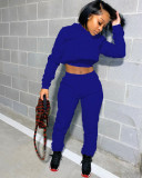 Solid Hoodies Lace Up Sweatpants Two Piece Sets YS-8711