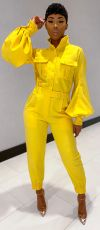 Fashion Solid Color Lantern Sleeve Jumpsuit YLF-8048