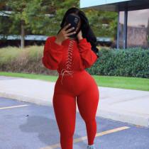 Plus Size Solid Lace Up Long Sleeve 2 Piece Pants Set SHE-7221