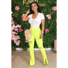 Ripped Hole Solid Color Micro Flare Pants MGF-8035