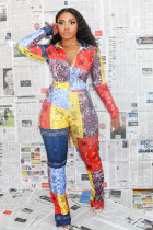 Plus Size 4XL Casual Printed Long Sleeve 2 Piece Pants Set SHA-6190