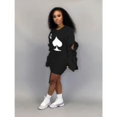 Poker Print Long Sleeve Mini Dress AWF-5811
