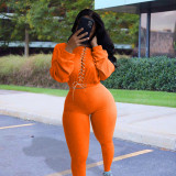 Plus Size Solid Lace Up Long Sleeve 2 Piece Pants Set SHE-7221