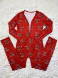 Casual Sports Pattern Print Long Sleeve Jumpsut SHD-9446