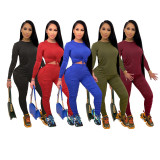 Plus Size Solid Long Sleeve Stacked Pants 2 Piece Sets YNB-7126