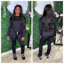 Plus Size Fashion Solid Color Ruched Sports Casual Trousers Two Piece Set WAF-7093