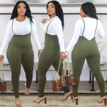 Plus Size Fashion Solid Color Long Sleeve Top And Suspender Jumpsuit Two Piece Set WAF-7100