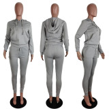 Solid Casual Hoodies Two Piece Pants Set ABF-6626