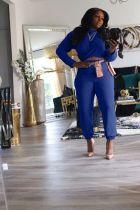 Solid O Neck Long Sleeve 2 Piece Pants Set MX-1159