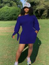 Solid Oblique Collar Long Sleeve Mini Dress GS-1877