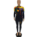 Casual Printed Long Sleeve 2 Piece Pants Set AWN-5113