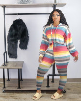 Casual Striped Hooded Two Piece Pants Set HM-6351