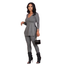 Solid Long Sleeve Casual Two Piece Pants Set MK-3021