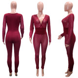 Sexy Deep V See Through Hollow Out Jumpsuits SH-3887