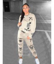 Casual Printed Sweatshirt Sweatpants 2 Piece Suits NM-8325
