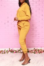 Solid Hoodies Sweatpants Casual Two Piece Set AIL-131