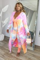 Plus Size Tie Dye Strap Jumpsuits+Long Coat 2 Piece Sets BDF-8026