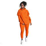 Casual Solid Long Sleeve Two Piece Pants Set YN-1051