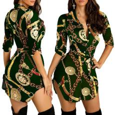 Chain Print Button Up Casual Shirt Dress BDF-8003