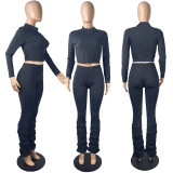 Elegant Sexy Solid Color Long Sleeve Stacked Pants Two Piece Set MYF-168