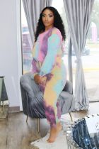 Tie Dye Casual Long Sleeve Two Piece Suits BDF-8028