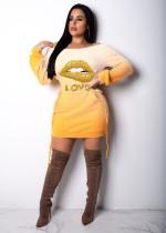 Plus Size Lips Print Gradient Long Sleeve Mini Dress BDF-8011