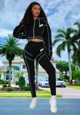 Casual Letter Print Hooded Two Piece Pants Set YSF-418