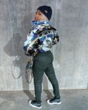Winter Warm Printed Zipper Bown Jacket Coat OSM-4555