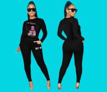 Fashion Casual Printed Sweatshirt Two Piece Set YMF-3508