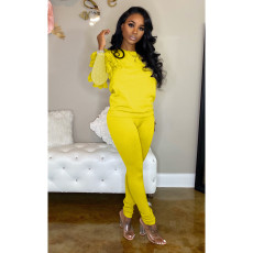 Solid Long Mesh Sleeve Two Piece Pants Set YD-8159