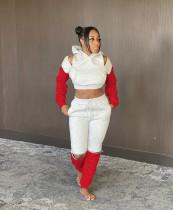 Contrast Color Casual Hoodies Two Piece Sets MEM-8303