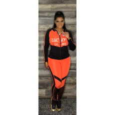 Fashion Letter Print Long Sleeve Sports Two Piece Sets YMF-3501