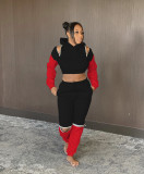 Contrast Color Casual Hoodies Two Piece Sets MEM-8303