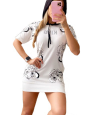 Casual Print Hooded Short Sleeve T Shirt Dress TCF-023