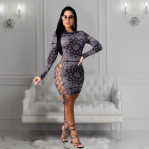 Sexy Printed Lace Up Hollow Long Sleeve Mini Dress CHY-1261