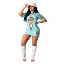 Cartoon Print Hole Hollow T Shirt Dress TCF-025