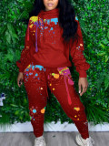 Casual Printed Hoodies Two Piece Pants Set LQ-5890