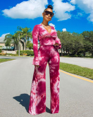 Tie Dye V Neck Long Sleeve Wide Leg Pants 2 Piece Sets TCF-034