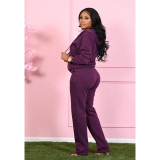 Casual Thicken Zipper Hoodies Two Piece Pants Set SMD-2048