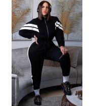Plus Size 4XL Casual Patchwork Zipper Jumpsuits SMD-9001